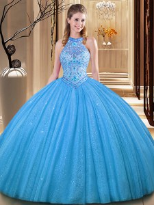 Attractive Baby Blue Tulle Backless Quinceanera Gowns Sleeveless Floor Length Embroidery