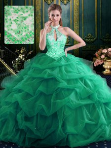 Halter Top Dark Green Lace Up 15 Quinceanera Dress Beading and Ruffles and Pick Ups Sleeveless Floor Length