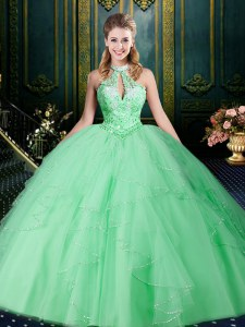 Spectacular Halter Top Sleeveless Beading and Lace and Ruffles and Ruching Lace Up Sweet 16 Dress
