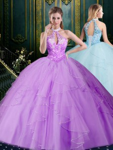 Glittering Lavender Halter Top Lace Up Beading and Lace and Ruffles Quinceanera Dresses Sleeveless