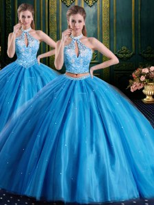 Baby Blue Lace Up High-neck Beading and Appliques Ball Gown Prom Dress Tulle Sleeveless