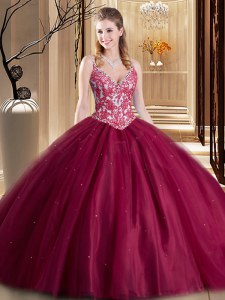 Superior Burgundy Sweet 16 Quinceanera Dress Military Ball and Sweet 16 and Quinceanera and For with Beading and Lace and Appliques Spaghetti Straps Sleeveless Lace Up