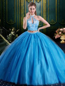 Halter Top Baby Blue Tulle Lace Up High-neck Sleeveless Floor Length Quinceanera Gowns Beading and Lace and Appliques