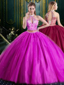 Modest Halter Top Sleeveless Lace Up Floor Length Beading and Lace and Appliques Sweet 16 Quinceanera Dress