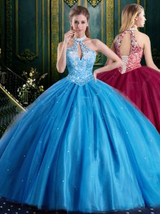 Halter Top Floor Length Baby Blue Quinceanera Dress High-neck Sleeveless Lace Up