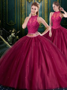 High End Floor Length Burgundy Quinceanera Dress Tulle Sleeveless Beading and Lace