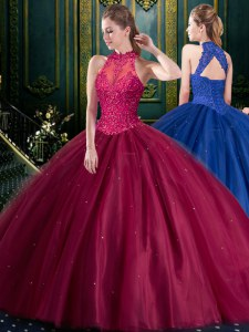 Modest Ball Gowns Quinceanera Dresses Burgundy High-neck Tulle Sleeveless Floor Length Lace Up