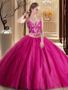 Hot Pink Lace Up Spaghetti Straps Beading and Appliques Quince Ball Gowns Tulle Sleeveless