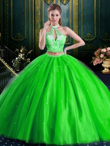 Halter Top Two Pieces Tulle High-neck Sleeveless Beading and Lace and Appliques Floor Length Lace Up Sweet 16 Dresses