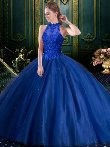 Low Price Beading and Appliques Sweet 16 Dress Navy Blue Lace Up Sleeveless Floor Length