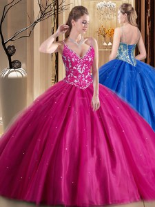 Hot Pink Tulle Lace Up Spaghetti Straps Sleeveless Floor Length Sweet 16 Dress Beading and Appliques