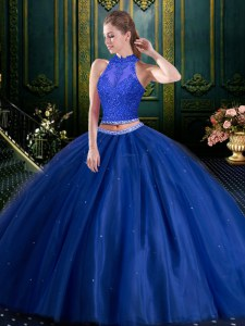 High-neck Sleeveless Tulle Vestidos de Quinceanera Beading and Lace Lace Up