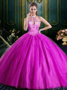 Fitting Halter Top Sleeveless Floor Length Beading and Lace and Appliques Lace Up Quinceanera Dresses with Fuchsia