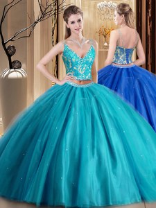 Sleeveless Tulle Floor Length Lace Up Ball Gown Prom Dress in Teal with Beading and Lace and Appliques