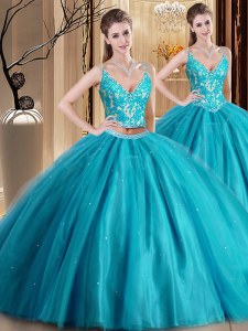 Customized Floor Length Teal Quince Ball Gowns Spaghetti Straps Sleeveless Lace Up
