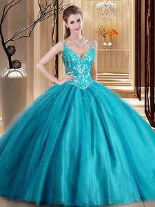 Enchanting Teal Sleeveless Tulle Lace Up Sweet 16 Dresses for Military Ball and Sweet 16 and Quinceanera