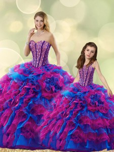 Perfect Multi-color Sleeveless Beading and Ruffles Floor Length Sweet 16 Quinceanera Dress