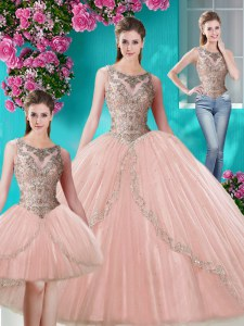 Fantastic Three Piece Scoop Sleeveless Lace Up Floor Length Beading and Appliques 15th Birthday Dress