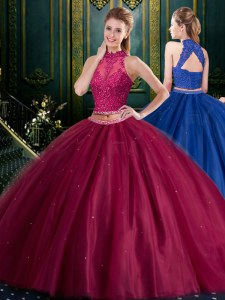 Halter Top Sleeveless Floor Length Appliques Lace Up Quinceanera Gowns with Burgundy