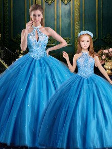 Sumptuous Halter Top Sleeveless Tulle Floor Length Lace Up Sweet 16 Dresses in Baby Blue with Beading and Appliques