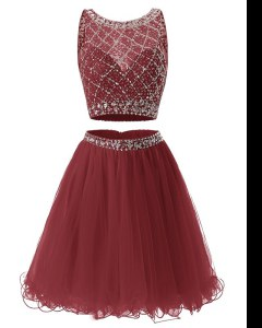 Burgundy Side Zipper Sweetheart Beading and Belt Prom Gown Organza Sleeveless