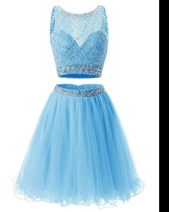 Super Baby Blue Organza Side Zipper Sweetheart Sleeveless Mini Length Prom Gown Beading and Belt