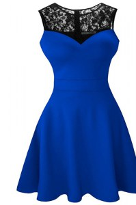 Scoop Sleeveless Zipper Pageant Dress for Girls Royal Blue Satin