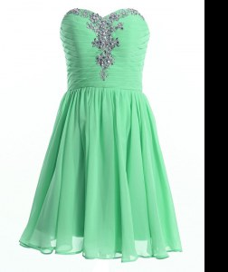 Cheap Apple Green Sweetheart Lace Up Beading Prom Dress Sleeveless
