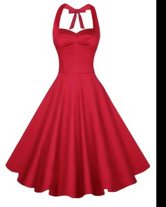 Red Backless Dress for Prom Ruching Sleeveless Knee Length