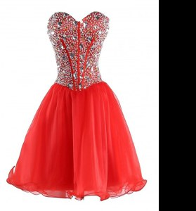 Stylish Mini Length Ball Gowns Sleeveless Coral Red Prom Dresses Lace Up