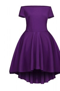 Great Purple Short Sleeves Satin Side Zipper Prom Dress for Prom and Party