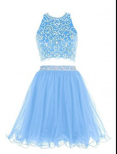 Dramatic Chiffon Scoop Sleeveless Backless Beading Prom Evening Gown in Blue