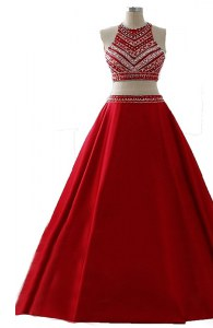 Scoop Sleeveless Zipper Floor Length Beading Prom Evening Gown