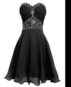 Pretty Sweetheart Sleeveless Homecoming Dress Mini Length Beading and Belt Black Organza