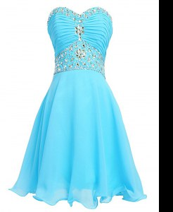 Glittering Aqua Blue Organza Lace Up Sweetheart Sleeveless Mini Length Beading and Belt