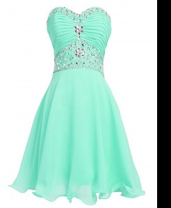 Trendy Apple Green Organza Lace Up Prom Dresses Sleeveless Mini Length Beading and Belt
