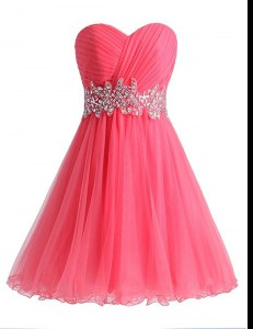 Sleeveless Beading and Ruching Lace Up Hoco Dress