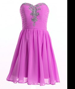 Organza Sweetheart Sleeveless Lace Up Beading and Ruching Evening Dress in Lilac