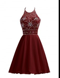 Burgundy A-line Chiffon Halter Top Sleeveless Beading Knee Length Zipper Homecoming Dress