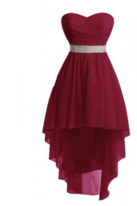 Modern High Low Burgundy Prom Gown Organza Sleeveless Belt