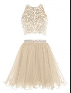 Trendy Mini Length Champagne Homecoming Dress Scoop Sleeveless Backless