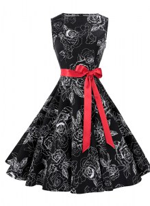 Affordable Scoop Black Sleeveless Knee Length Sashes ribbons and Pattern Zipper Prom Gown