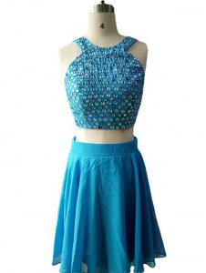 Scoop Sleeveless Chiffon Knee Length Zipper in Teal with Beading