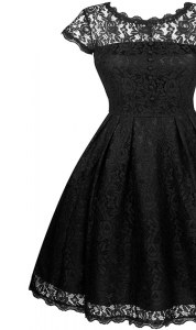 Attractive Scalloped Knee Length A-line Short Sleeves Black Evening Dress Zipper
