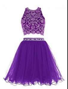 Scoop Purple Clasp Handle Prom Party Dress Beading Sleeveless Mini Length