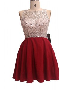 Extravagant Scoop Chiffon Sleeveless Knee Length Pageant Dress for Girls and Sequins