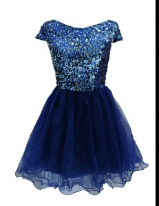 Trendy Navy Blue Zipper Bateau Sequins Cocktail Dresses Chiffon Cap Sleeves