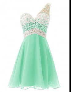 Delicate One Shoulder Knee Length A-line Sleeveless Apple Green Homecoming Gowns Criss Cross
