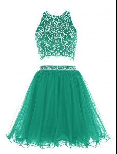 Pretty Scoop Sleeveless Mini Length Beading Clasp Handle Prom Dress with Green