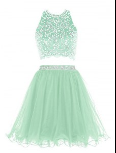 Two Pieces Celeb Inspired Gowns Apple Green Halter Top Organza Sleeveless Mini Length Clasp Handle